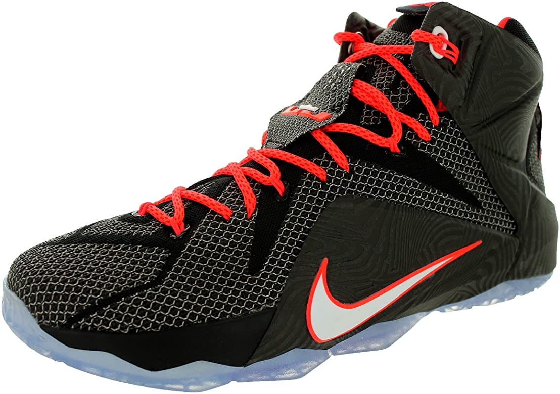 5ad168d546a31 Nike Lebron XII Mens Basketball Shoes 684593-016 Black White-Bright Crimson  12 M