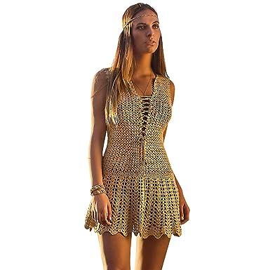 0411740c92 Coketta Beachwear Blanca Lace-Up Decollete Hand-Crochet Dress (Medium, Gold)