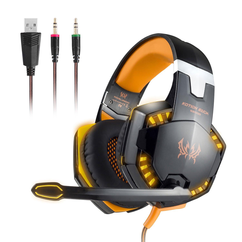 EasySMX G2000 EACH Auriculares Estéreo Alámbrico de Juego por Cable con Diadema Ajustable y Micrófono USB y 3, 5 mm conector de Audio Indicador LED Aislar Ruidos / Controlar el Volumen en línea para PC Jugadores ( NO PARA XBOX PS )