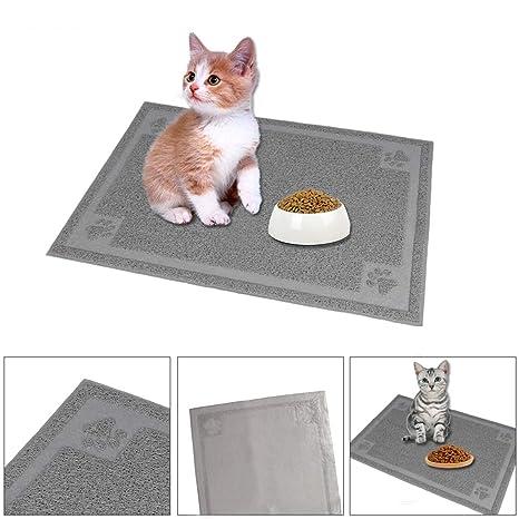 Quieting Alfombrilla de Comida para Gatos y Gatos, Bandeja de Arena para Mascotas, Alfombrilla