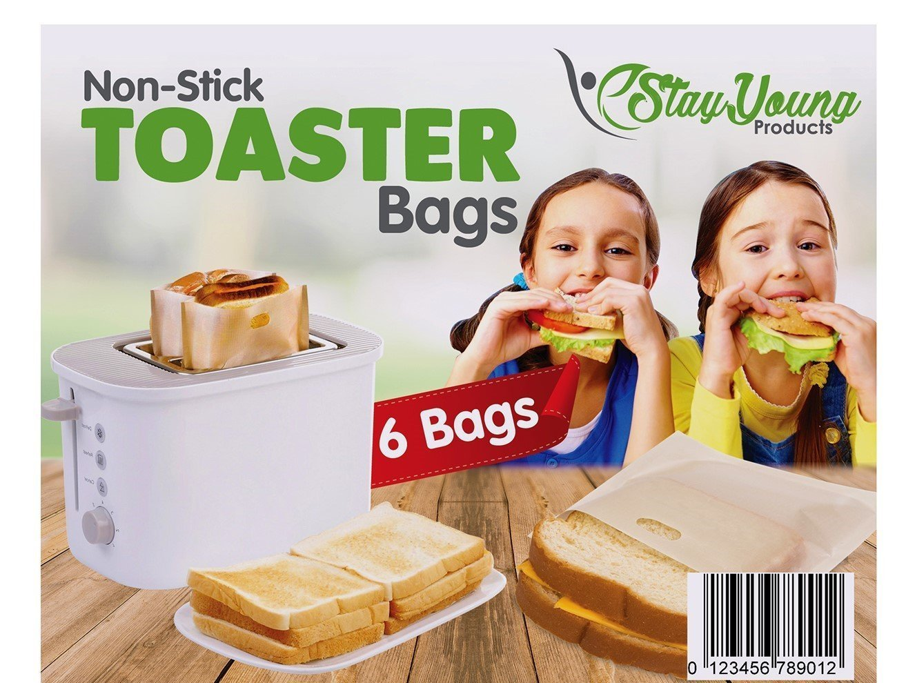 Gluten Free Toaster Bags (6-Piece Set) Reusable, Microwaveable Teflon Pockets | Sandwiches, Grilled Cheese, Panini, Toast | Gluten Free | Microwave, Dishwasher Safe StayYoung Products SYNCHKG112342