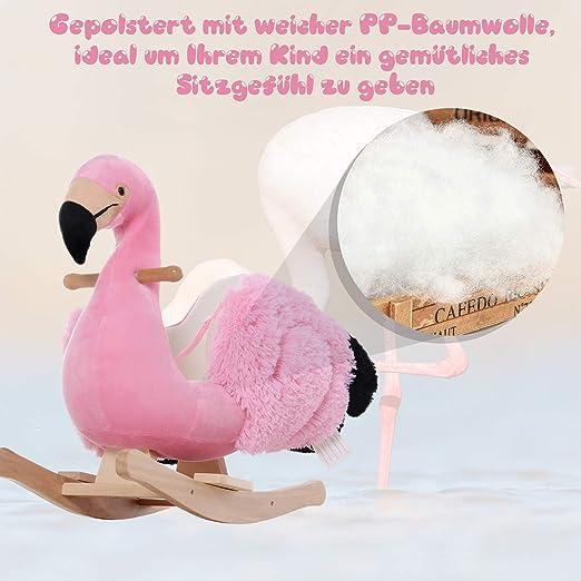 Schaukelpferd mit Sicherheitsgurt Schaukelspielzeug Flamingo Haltegriffe Plüsch