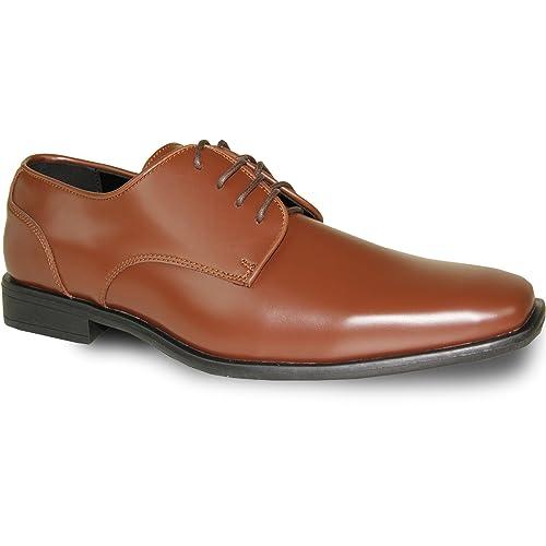 VANGELO Men Dress Shoe TUX-2 Oxford Formal Tuxedo for Prom & Wedding Shoe  COGNAC