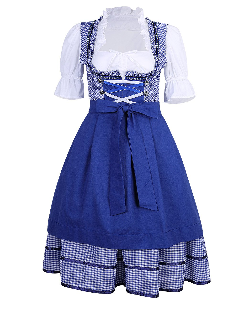 GloryStar KoJooin Women's German Dirndl Dress 3 Pieces Oktoberfest Costumes (L, Blue) by GloryStar