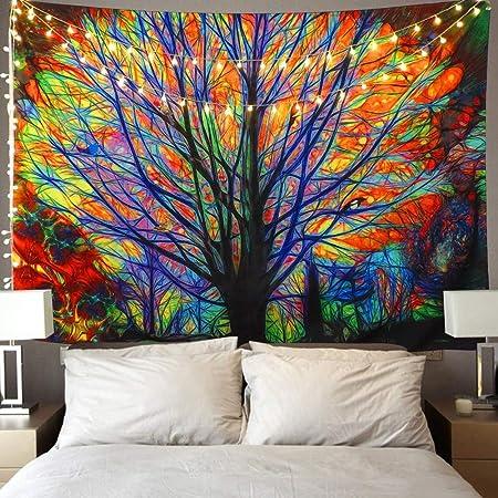 Onirique Arbre tentures murales Tapisserie psychédélique forêt avec oiseaux Bohême...