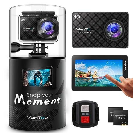VanTop Moment - Cámara Deportiva 4 K WiFi con Pantalla táctil y 32 GB, Tarjeta Micro SD, 40 m, Impermeable, 20 MP, Sensor de Gran Angular, 2 baterías, ...