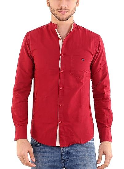 e2da0e798de Rapphael Men s Cotton Chinese Collar Plain Red Color Shirt(RPL-00640)   Amazon.in  Clothing   Accessories