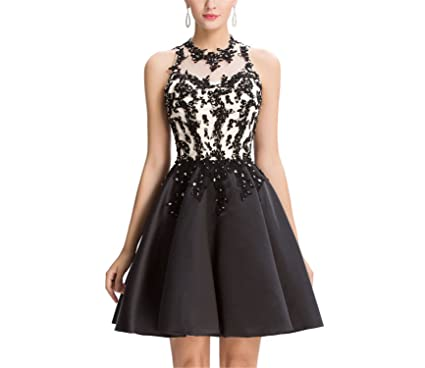 AUUOCC Luxury Cocktail Dresses 2018 Short Black Lace Coctail Dress V-Opening Back Sexy Cocktail Party Dresses at Amazon Womens Clothing store: