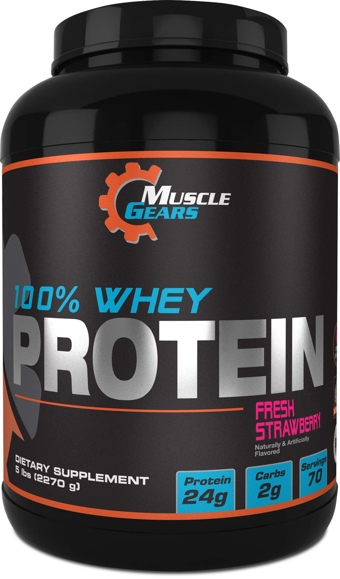 100% Whey Protein (5lb, Strawberry) by Muscle Gears