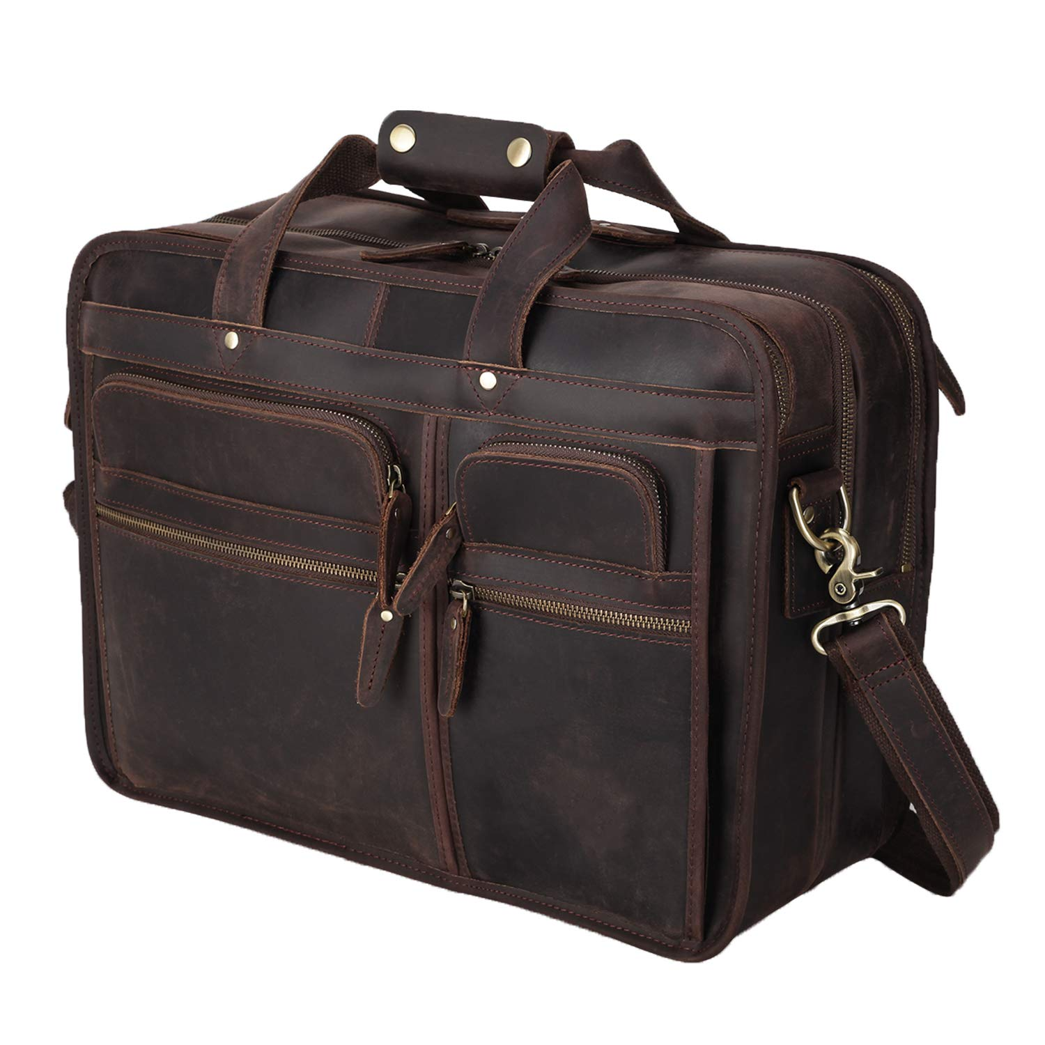 """Polare Modern Messenger Bag with Retro Feel 17"""" Men's Laptop Briefcase with Full Grain Leather and Premium YKK Zippers"""