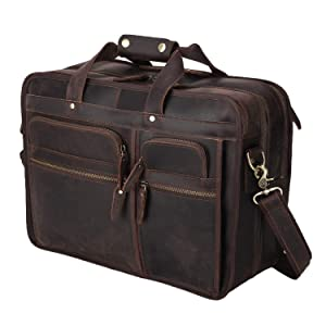 "Polare Modern Messenger Bag with Retro Feel 17"" Men's Laptop Briefcase with Full Grain Leather and Premium YKK Zippers"