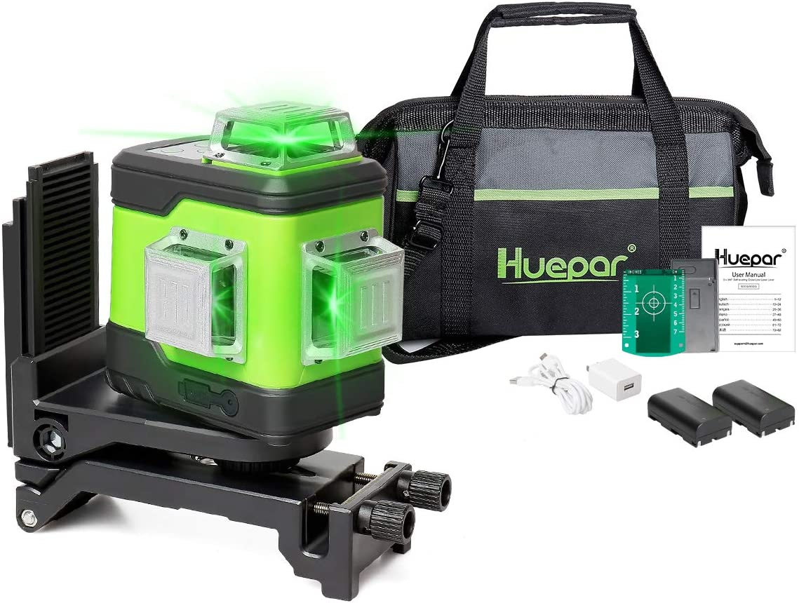 Huepar 3D Cross Line Self-Leveling Laser Level 3x360 Green Beam Three-Plane Leveling and Alignment Laser Tool-Switchable Vertical & Horizontal Lines, Li-ion Battery & Portable Tool Bag included 503CG