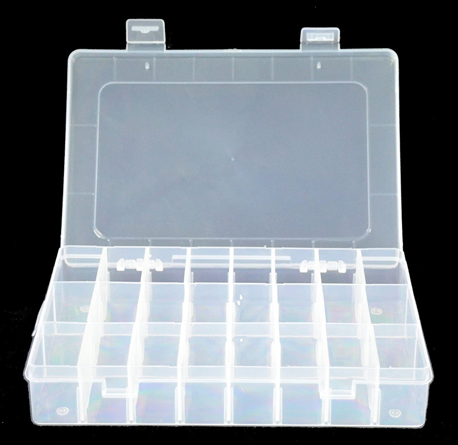 DierCosy Grid Clear Adjustable Jewelry Bead Organizer Box Storage Container Case (24 Grid) DCpro00253