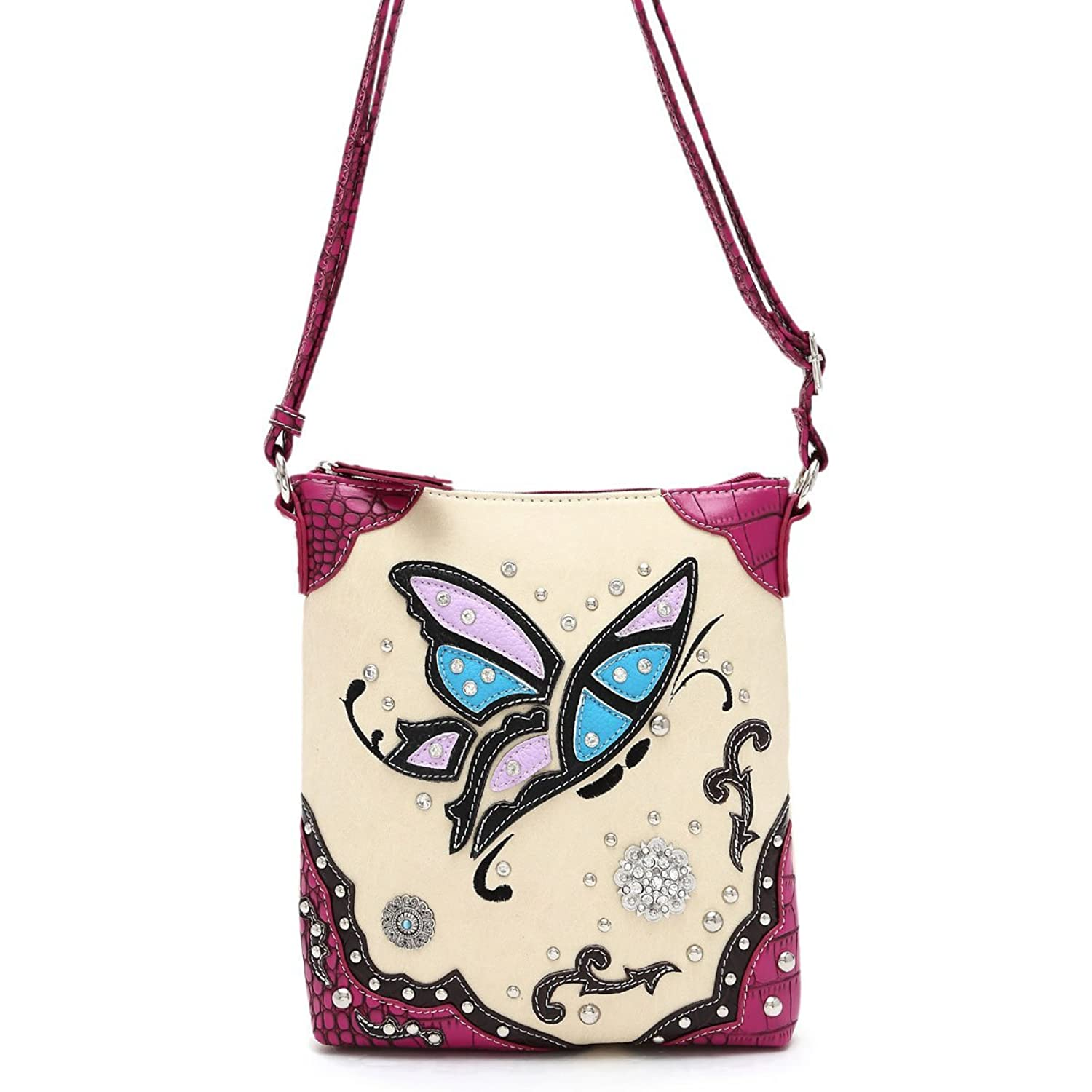 Cowgirl Trendy Women Western Butterfly Cross Body Messenger Bag Shoulder Satchel Shoulder Purse Fuchsia