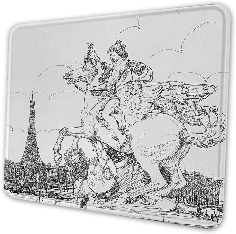 Alfombrilla de ratón con estampado antiguo Paisaje urbano europeo Francia Escultura histórica Caballo de cría Impresión de la torre Eiffel Personaliza tu alfombrilla de ratón para juegos Negro Blanco