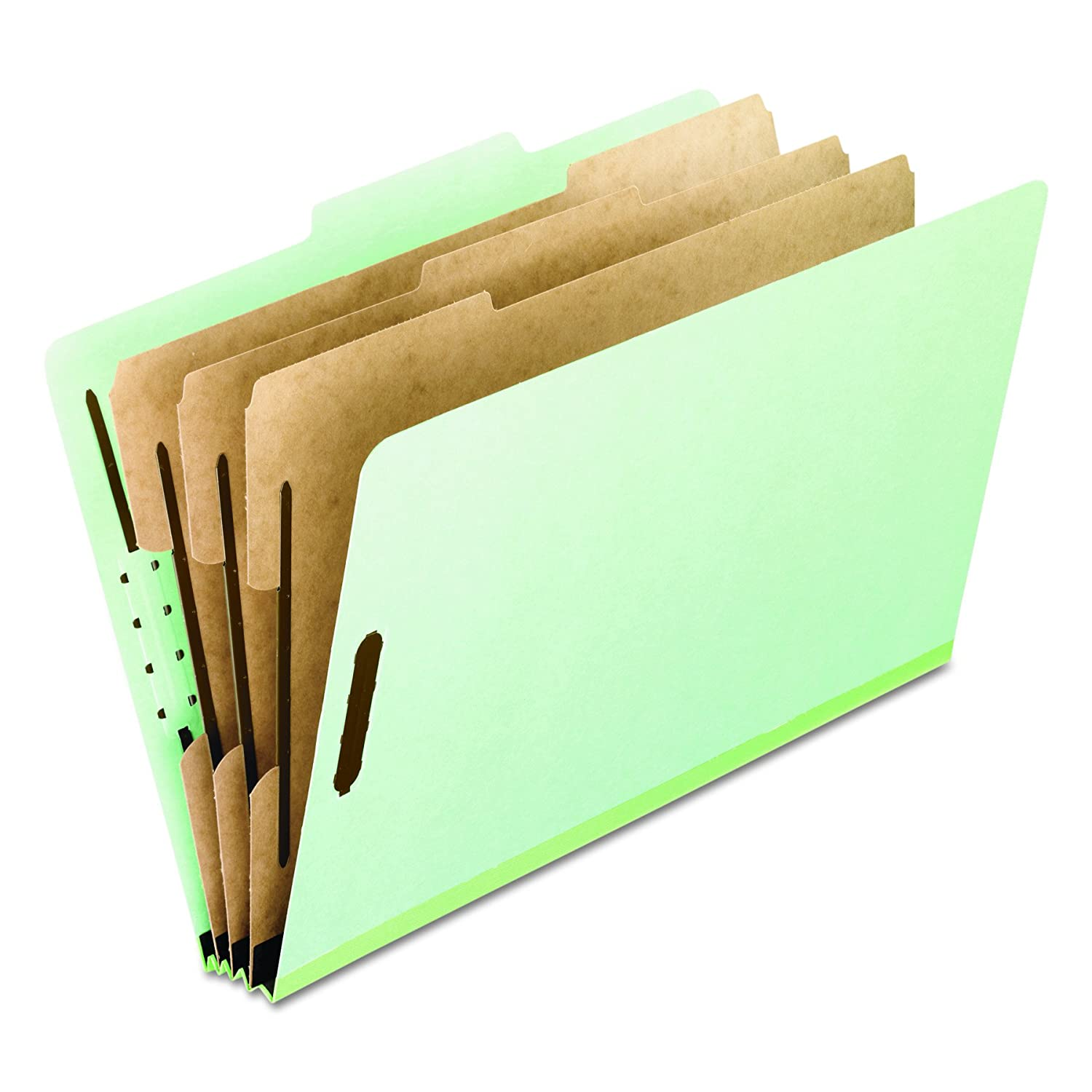 Pressboard Classification Folders, Letter, Eight-Section, Green, 10/Box