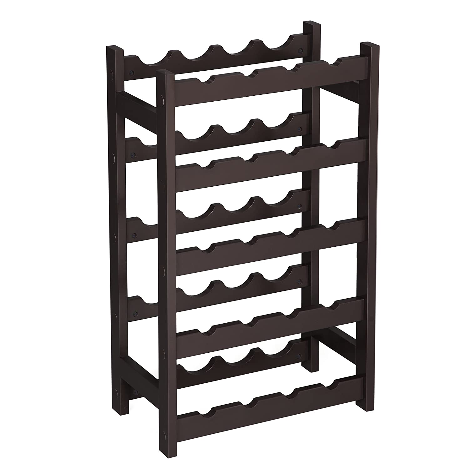 Amazoncom Songmics Wood 20 Bottle Wine Display Rack, Free Standing Bottles