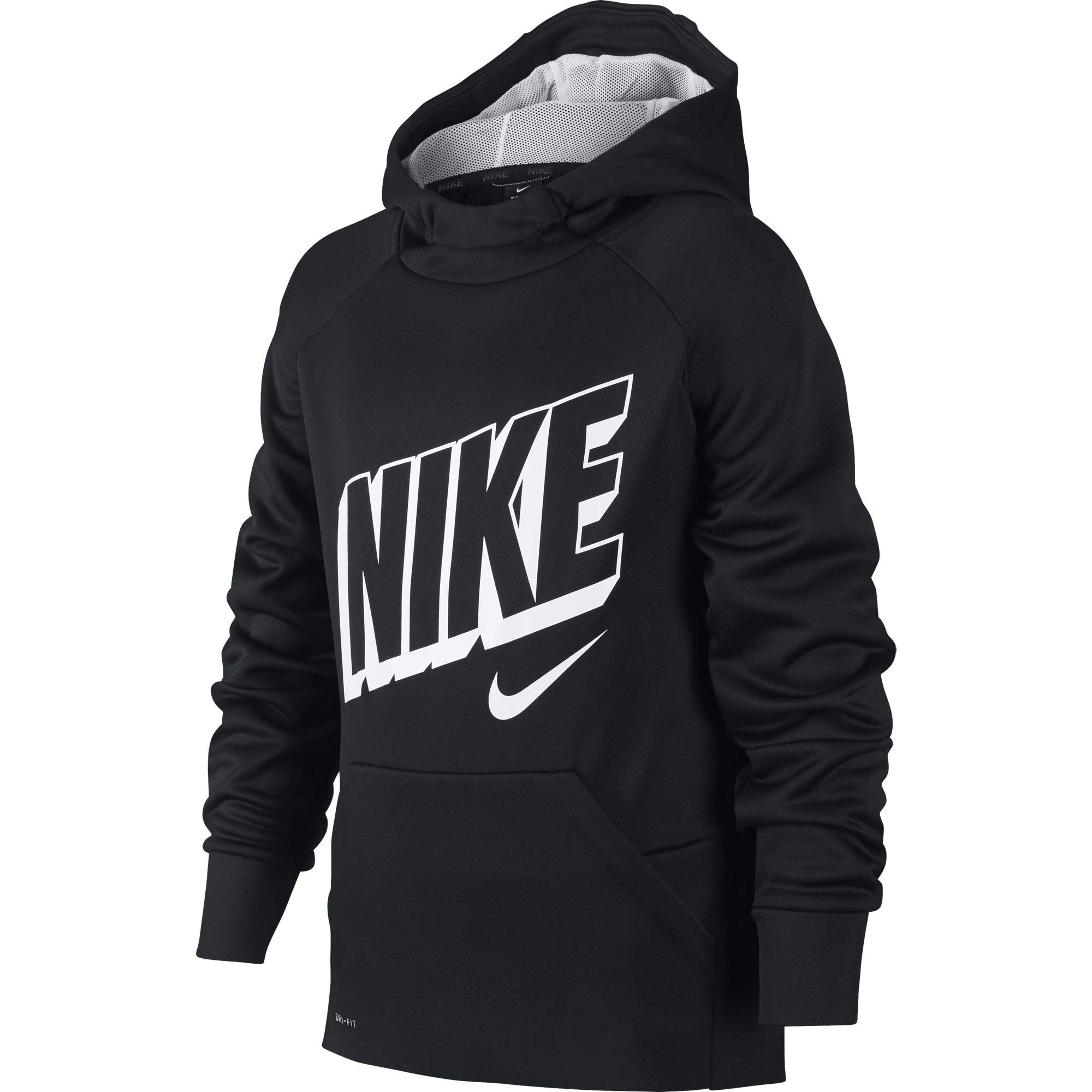 Nike Boy's Therma Graphic Training Pullover Hoodie Black/Wolf Grey/White Size Small