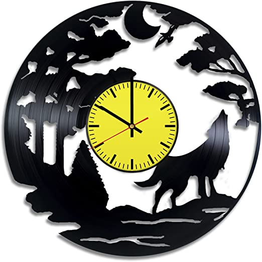 Vintage Unique Modern Art Gift ideas for teens Deer Antler Vinyl Record Wall Clock Get unique home room wall decor men and women