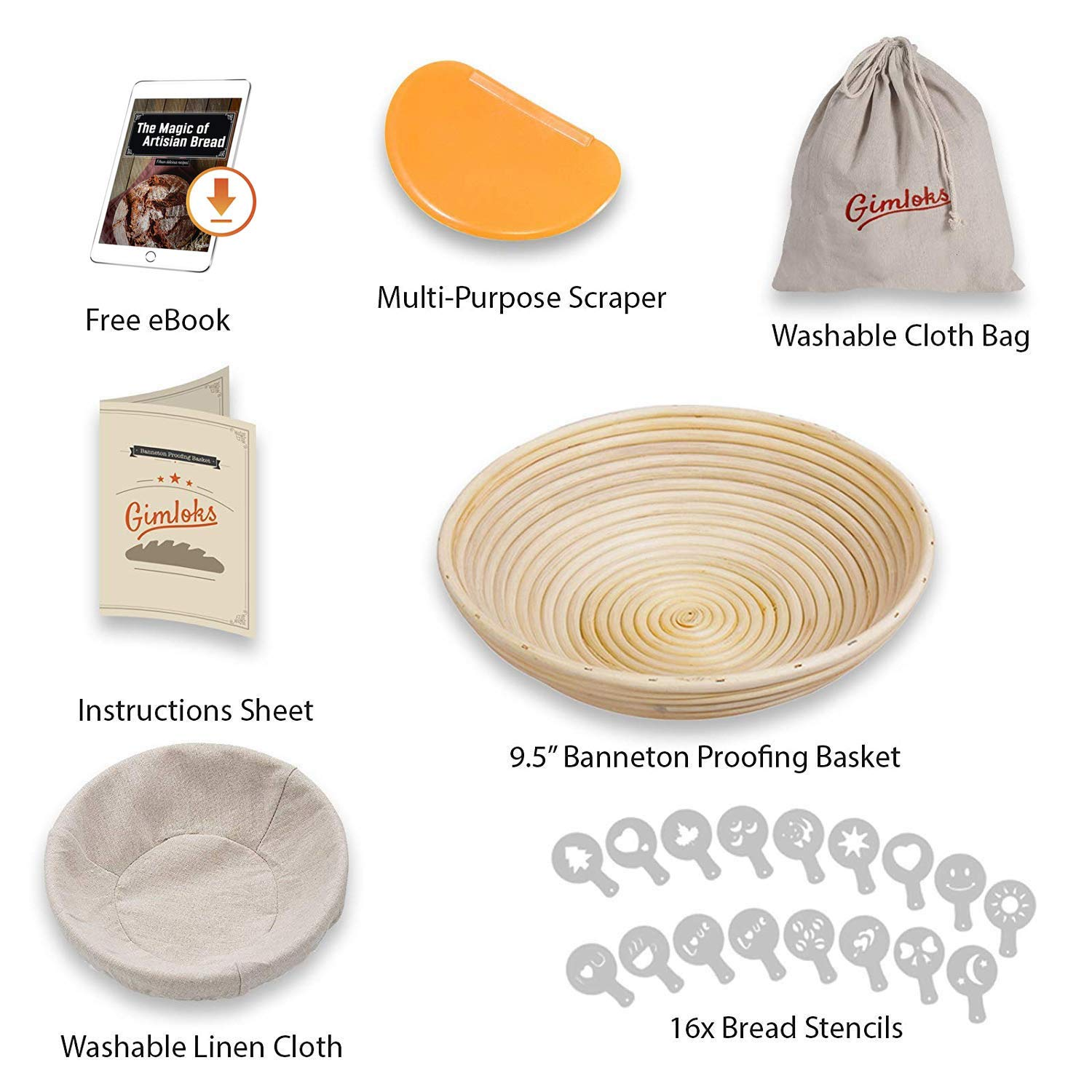 Banneton Proofing Basket - Professional Proofing Set for Rising Dough - Lame Scraper & Brotform Linen Liner & Bread Bag- Natural Rattan Basket For Home Bakers + 16 Stencils & Free E-Book
