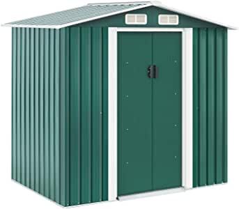 Solaura 6'x4' Outdoor Vented Storage Shed Garden Backyard Tool Steel Cabin (Green)