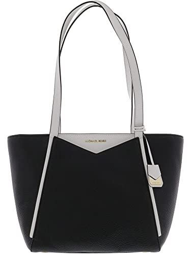 fe9d0942c5b3 MICHAEL Michael Kors M Small Top Zip Leather Tote, Black/Optic White:  Handbags: Amazon.com