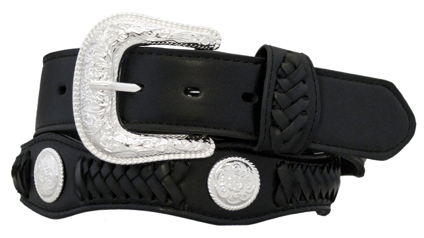 Silver Canyon Mens 1.5'' Leather Scalloped with Lacing and Concho Accents Black Belt, 34