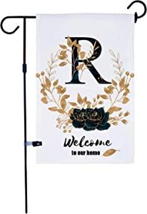 AKPOWER Small Garden Flag Vertical Double Sided Farmhouse Burlap Yard Outdoor Decor Classic Monogram 12 x 18 Inch Letter R