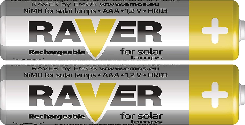Pilas AAA recargables para l/ámparas solares EMOS RAVER 2 unidades, 1,2 V, 400 mAh, HR03, recargables