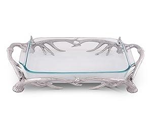 """Arthur Court Aluminum Antler Pyrex Casserole Dish Holder 21"""" 3 Quart"""
