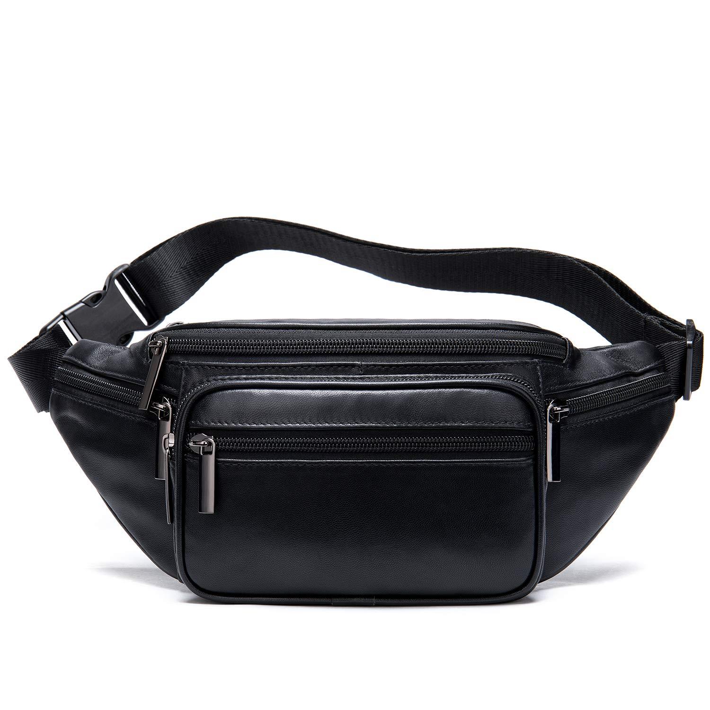 Black Vintage LeatherFanny Pack Waist Purse Bum Bag