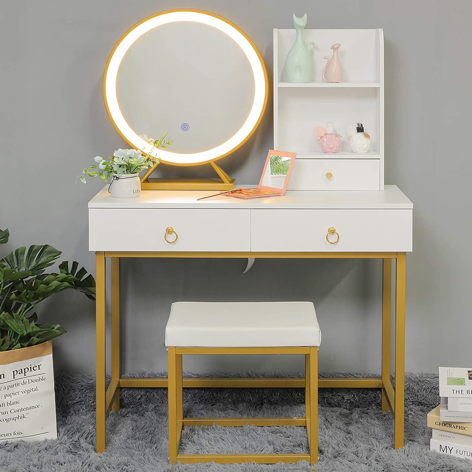 USIKEY Vanity Set with Lighted Mirror, Makeup Vanity Table with 2 Big Drawers, Dressing Vanity Tables with 2 Storage Shelves and Cushioned Stool, White