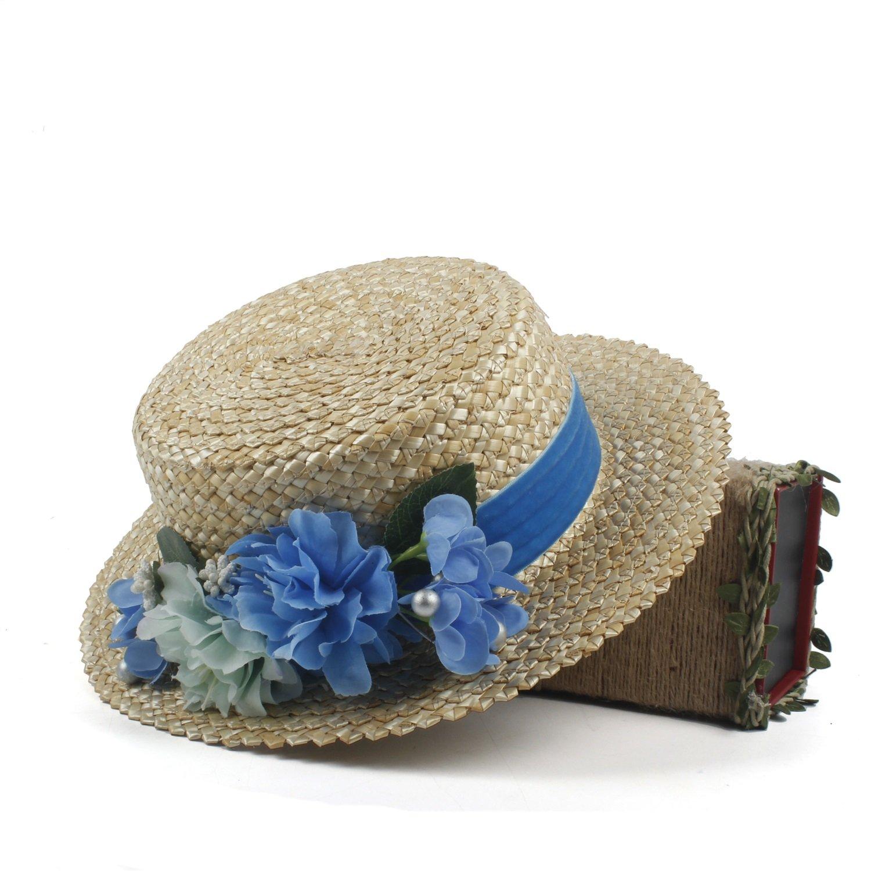 Dig dog bone 2018 New! Amerie Hat Flat Top Straw Fascinator Ivory Flower Wedding Bouquet Boater (Color : Natural, Size : 56-58cm)
