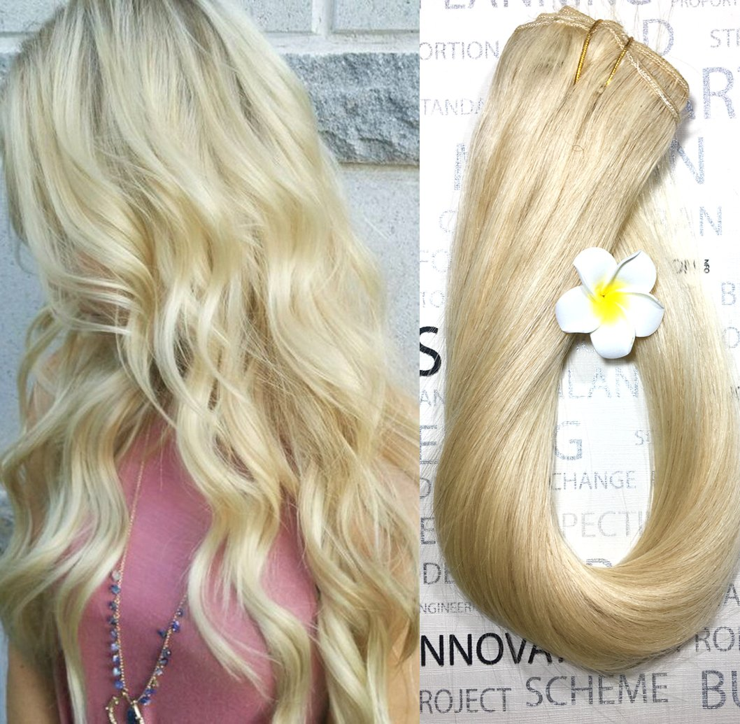 Amazon Blonde Human Hair Extensions Clip In Platinum Blonde 20