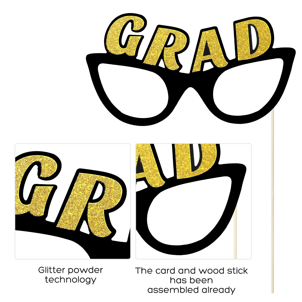 SG/_B07927P7FX/_US LUOEM 2018 Graduation Party Photo Booth Props Kit Class of 2018 Posing Props 2018 Graduate Party Supplies,Pack of 18 No DIY Required