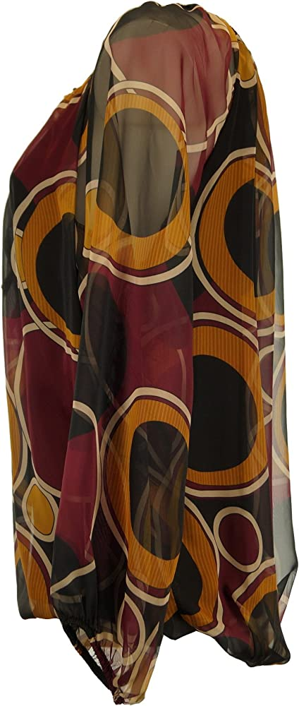 Damen Chiffon Bluse Carmen mit Tupfen Muster Pump Ballon Mehrfarbig Moda Italy