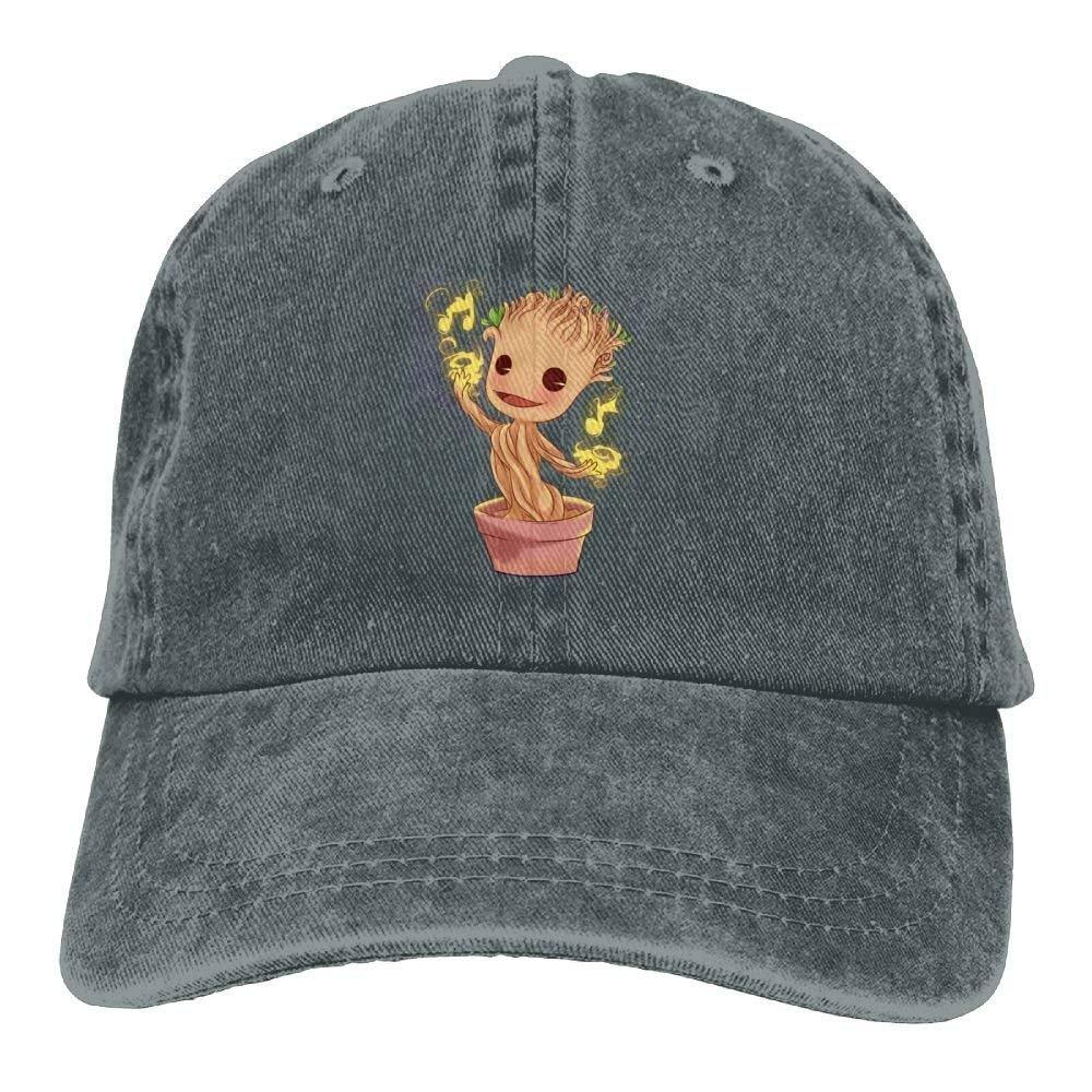 JTRVW Cowboy Hats Dancing Groot Denim Hat Adjustable Womens Dad Baseball Caps