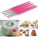 CLE DE TOUS - Kit de 5 Pinceles Silicona para Modelar Pintar decoración tarta pastel Pinceles de repostería de tamaño 1mm y 3mm