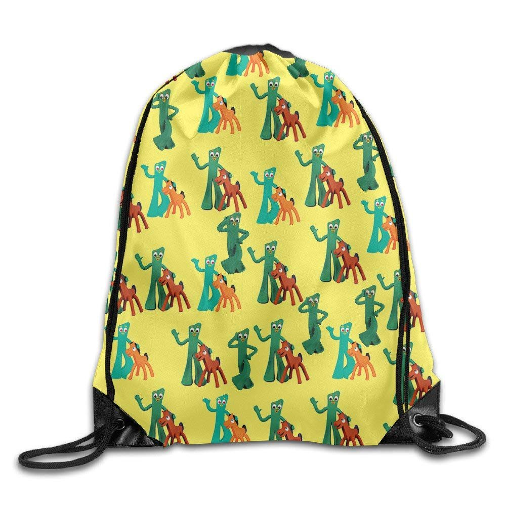 Cartoon Gumby Lightweight Durable Sackpack Sport Running Swimming Hiking Drawstring Bags