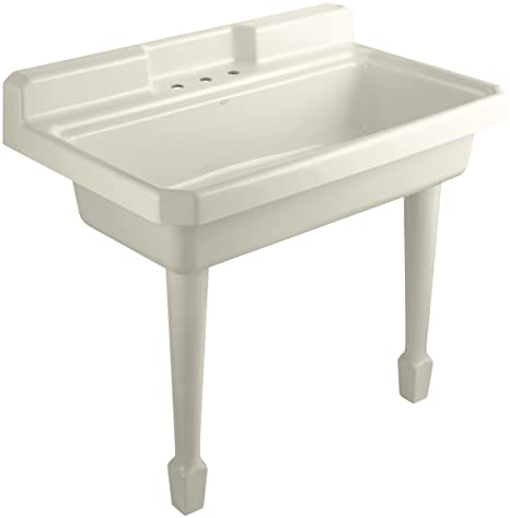 Wall Hung Utility Sink.Kohler K 6607 3 47 Harborview Self Rimming Or Wall Mount Utility Sink With Three Hole Faucet Drilling On Center Deck Of Sink Almond