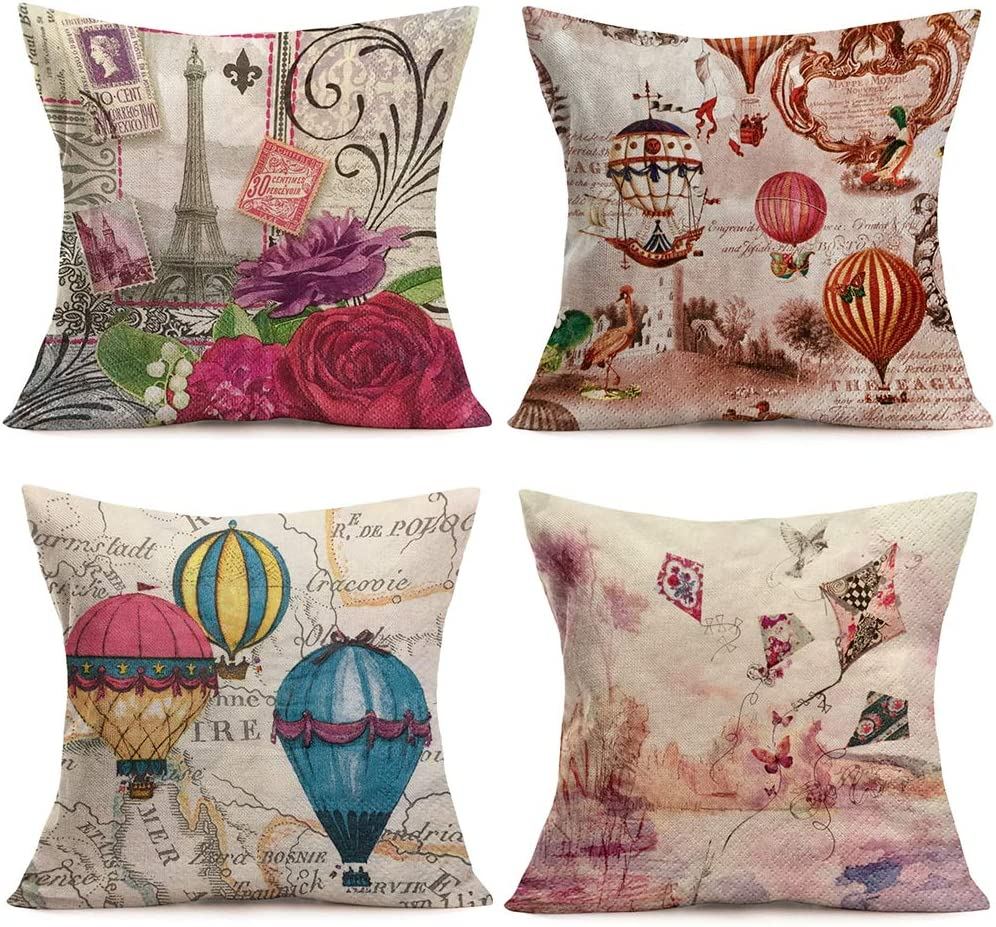 "Hopyeer 4Pcs Vintage Romantic Paris Trip Classical Postcards Hot Air Balloons Kites Throw Pillow Covers Decor Cotton Linen Europe Map EiffelTowerXmas ValentinePillowcase for Sofa18""x18"" (RP-Paris)"