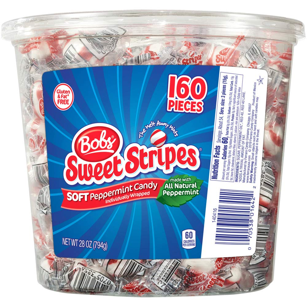 Bobs Sweet Stripes Soft Peppermint Candy, 160 Count, 28 Ounce Jar