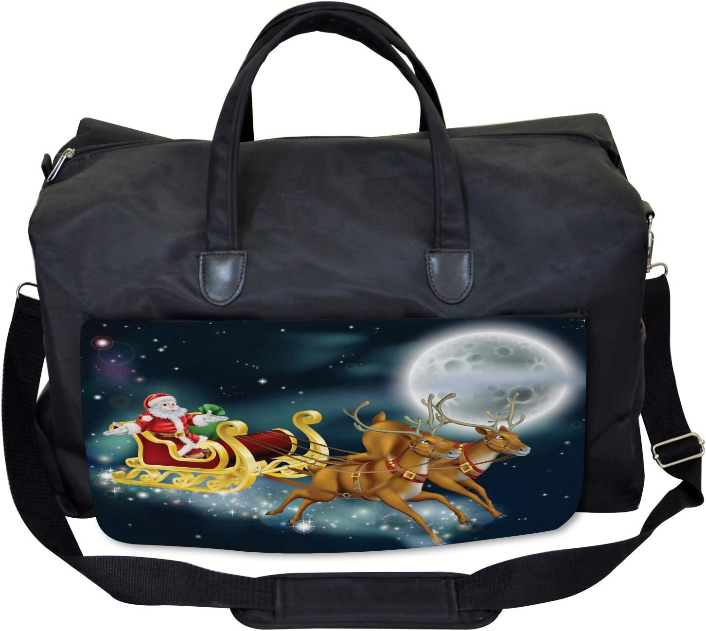 Santa Claus and Gift Ambesonne Christmas Gym Bag Large Weekender Carry-on