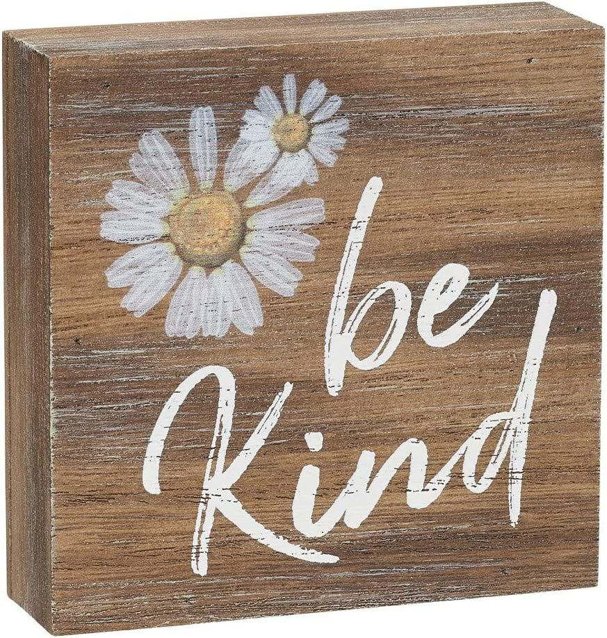 Collins Painting 'Be Kind' Inspirational Wood Grain Mini Block Sign, 3.5""