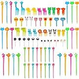 80 Pieces Animal Fruit Food Picks Lunch Bento Box Picks Cute Cartoon Toothpick Mini Cupcake Fork Picks for Cake Dessert Pastr