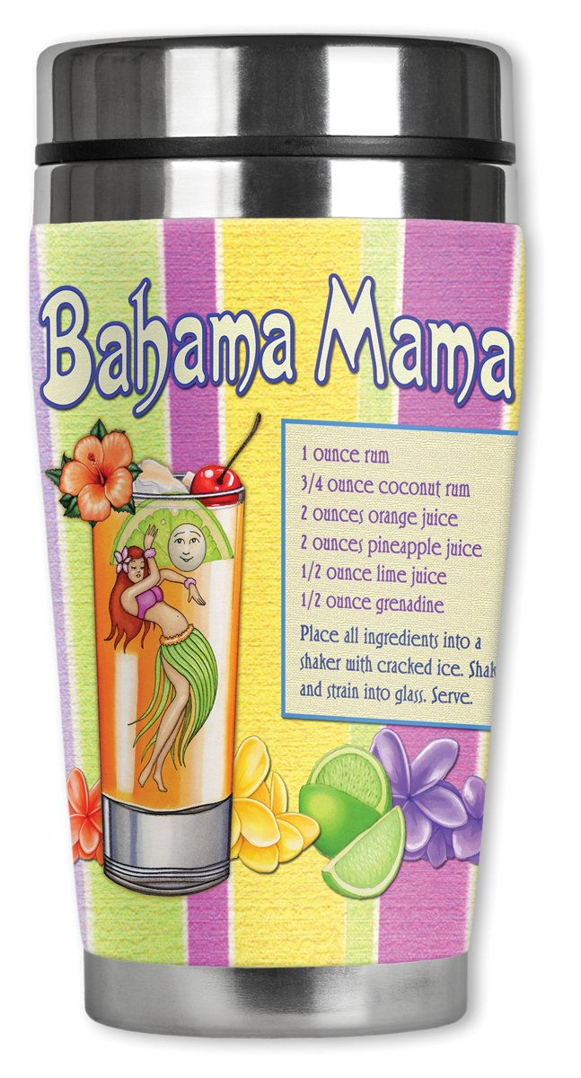 Striped Bahama Mama Mugzie brand 16-Ounce Travel Mug with Insulated Wetsuit Cover