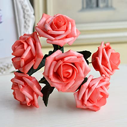 Amazon Wedding Flowers Coral Artificial Flowers Real Like Coral