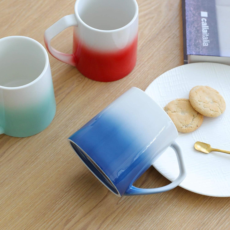 Tea TEANAGOO MS025W Porcelain Mugs 16 Ounce for Coffee Warm Assorted Colors Cocoa Set of 6