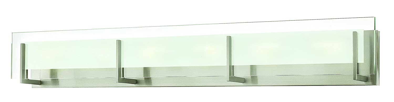 hinkley 5656bn contemporary modern six light bath from latitude collection in pwt nckl bs slvrfinish vanity lighting fixtures amazoncom - Bathroom Light Bar
