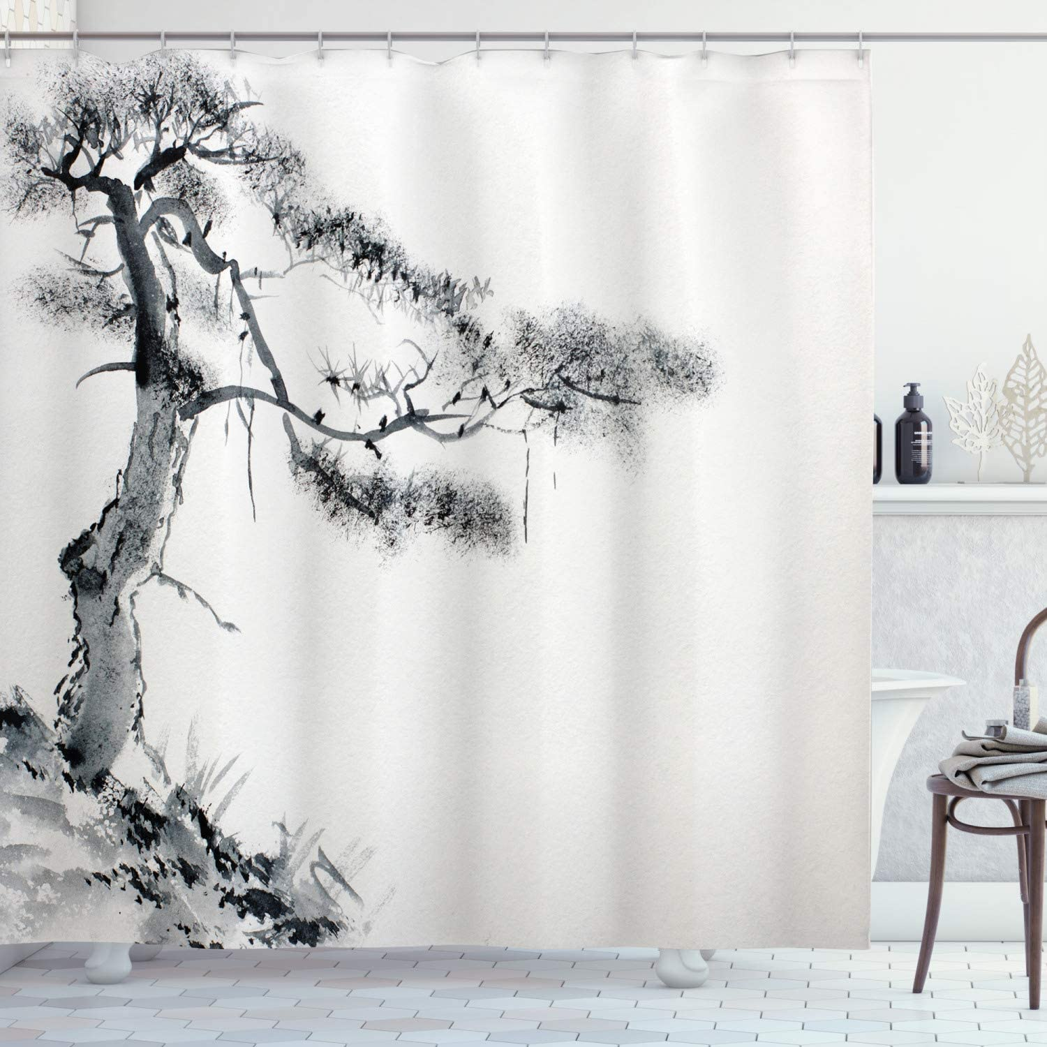 "Ambesonne Asian Shower Curtain, Lone Pine on Mountain Slope Art Traditional Chinese Painting Style Oriental Culture, Cloth Fabric Bathroom Decor Set with Hooks, 70"" Long, Grey White"